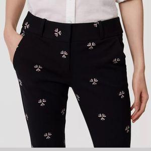 Loft Marisa Skinny Black Floral Print Pants